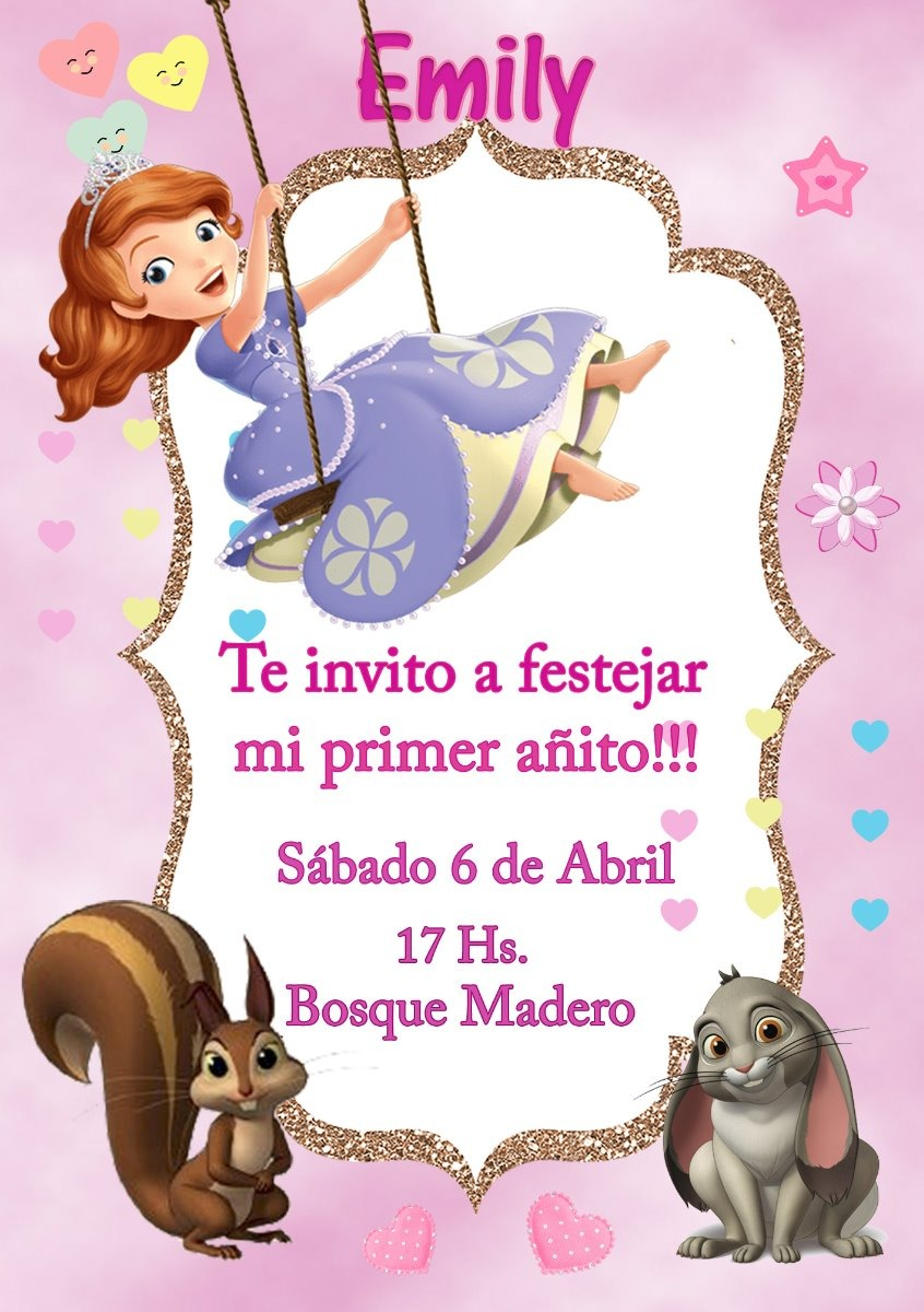 Tarjeta Invitacion Princesa Sofia Digital Cumpleaños