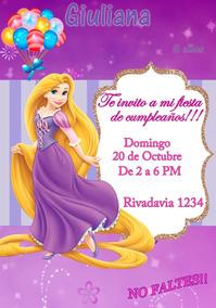 Tarjeta Invitacion Rapunzel Digital Cumpleaños