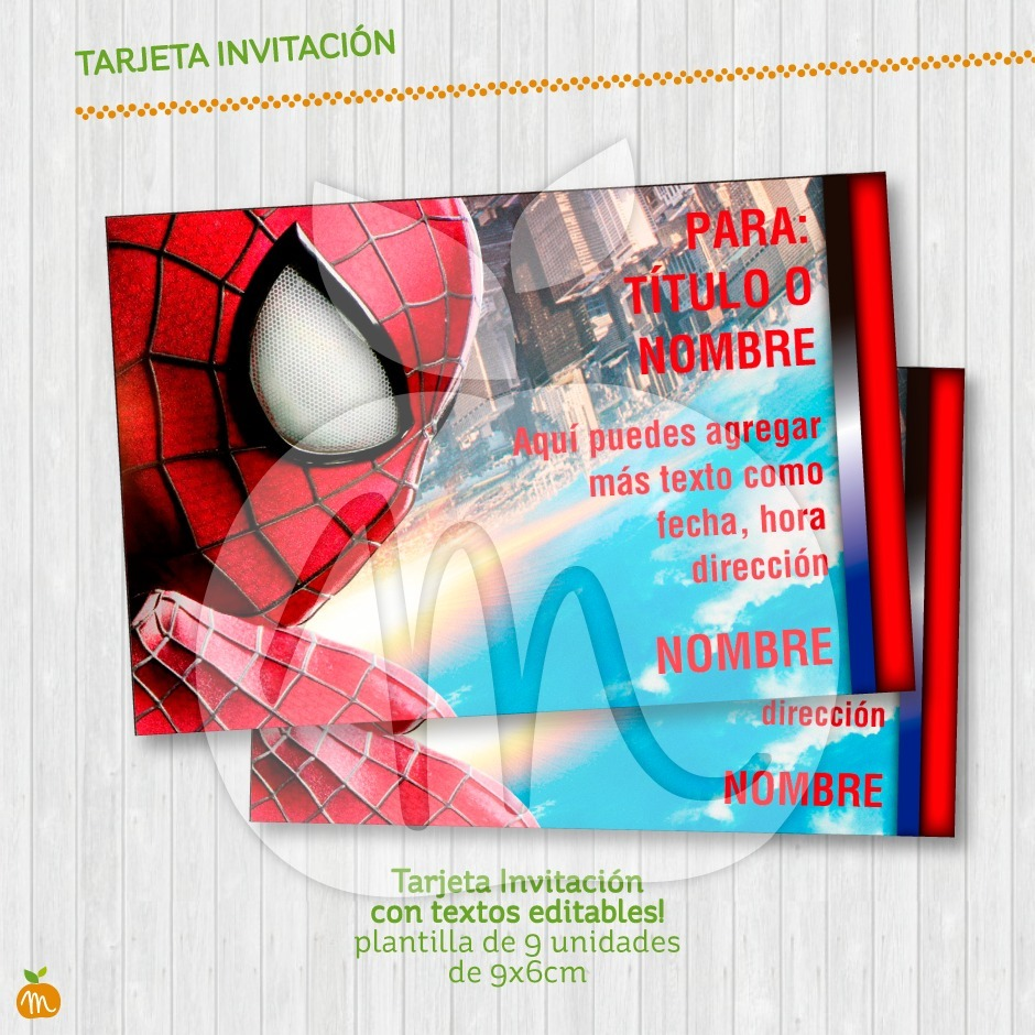 Tarjeta Invitación Textos Editables Fiesta Hombre Araña - $ 180,00 ...