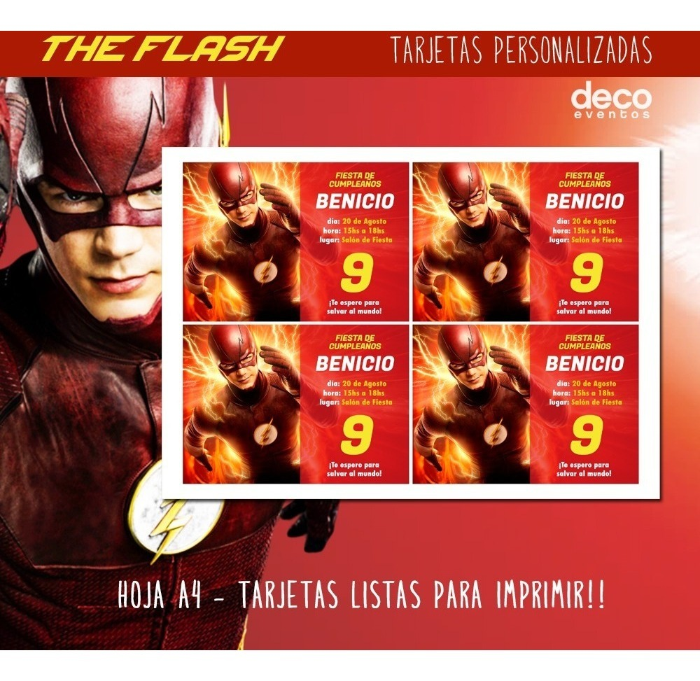 Tarjeta Invitación The Flash P Imprimir Y Envío Digital