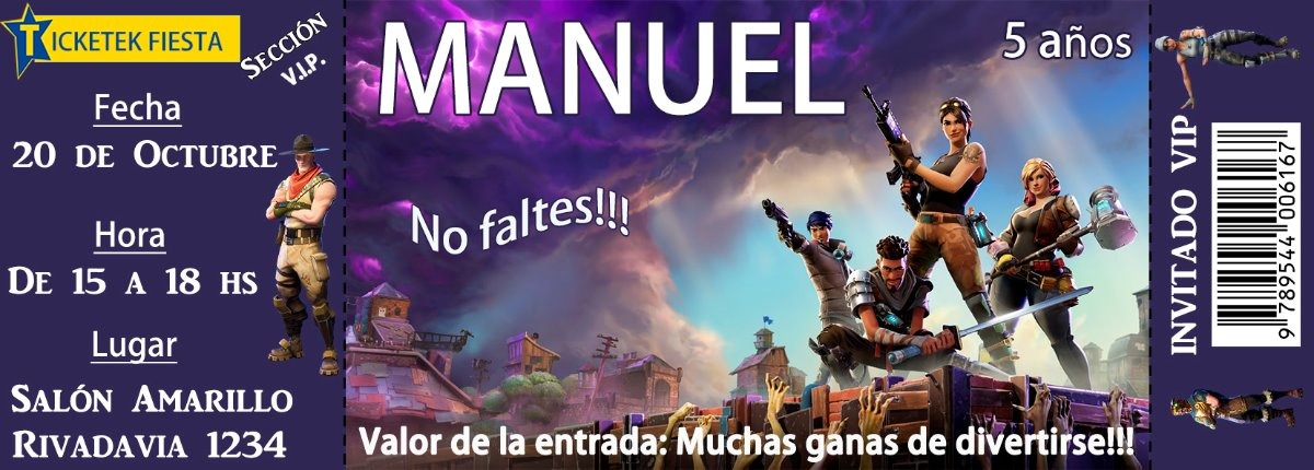 Tarjeta Invitacion Ticket Fortnite Personalizada Impresa