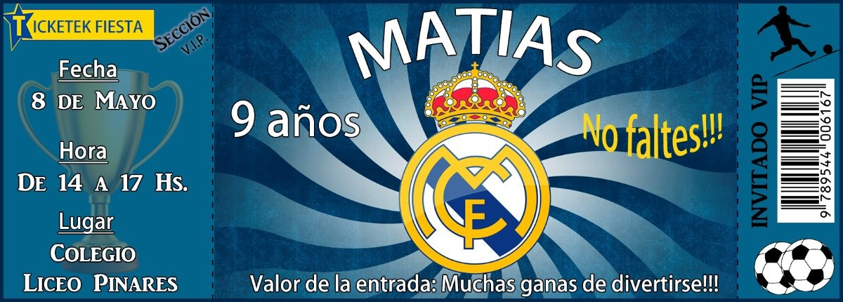 Tarjeta Invitacion Ticket Real Madrid Futbol Imprimible