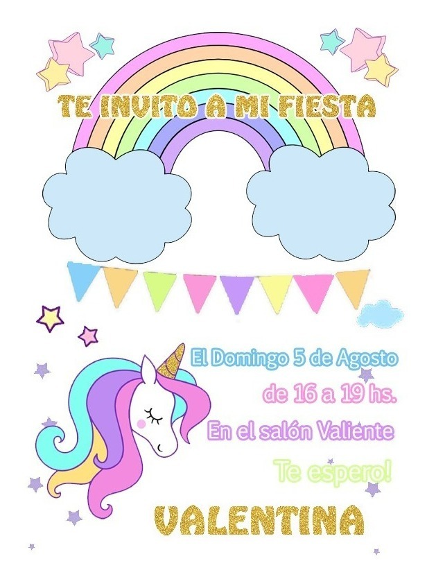Tarjeta Invitación Unicornio Arco Iris Imprimible Digital