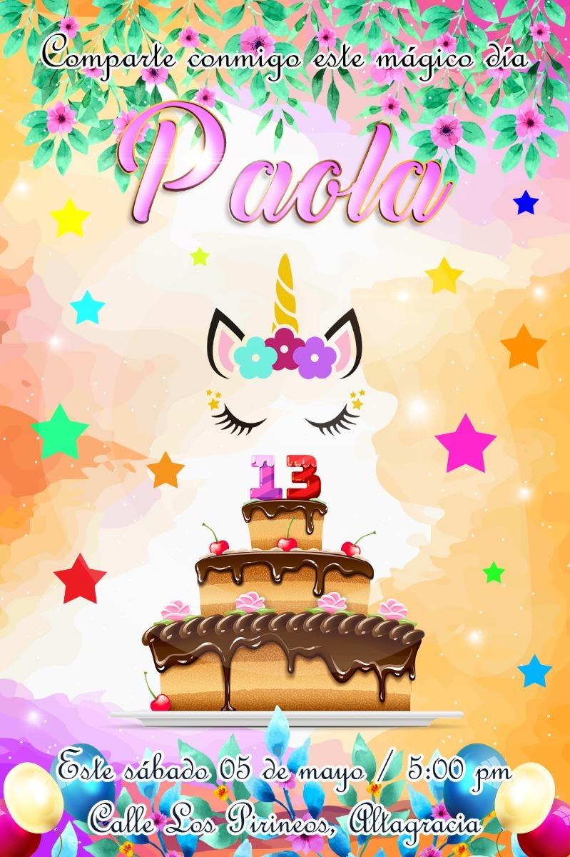 Tarjeta Invitación Video Animada Cumpleaños Motivo Unicornio