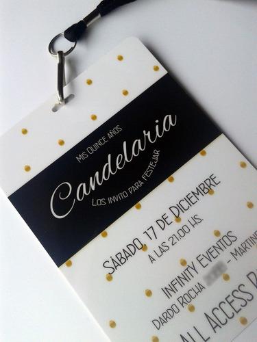 tarjeta invitacion vip 15 años cordon c/mosqueton x10
