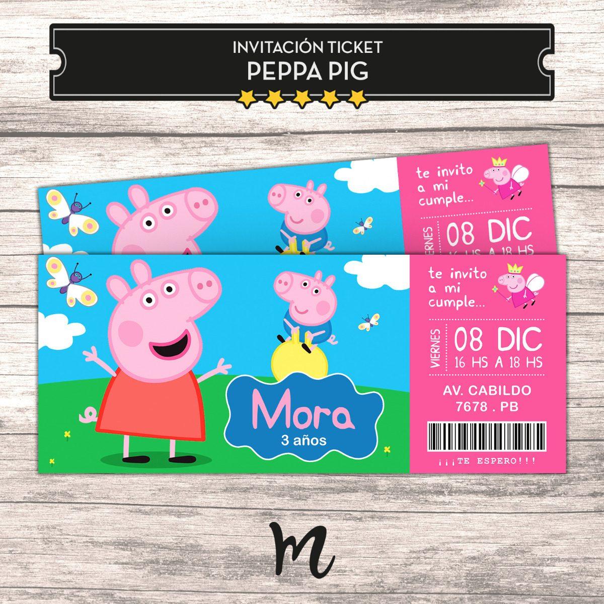 Tarjeta Invitaciones Cumpleaños Peppa Pig