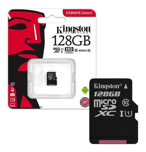 tarjeta kingston canvas select plus microsd 128gb 100mb/s a1