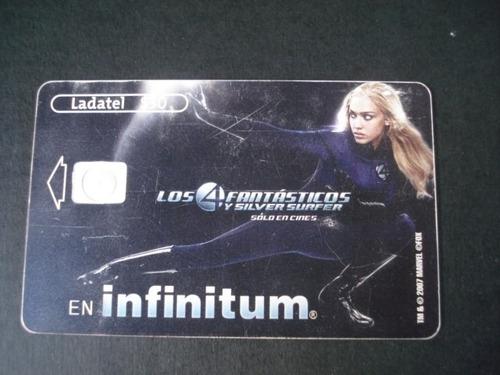 tarjeta  ladatel los cuatro fantasticos 1/6 usada cine peli