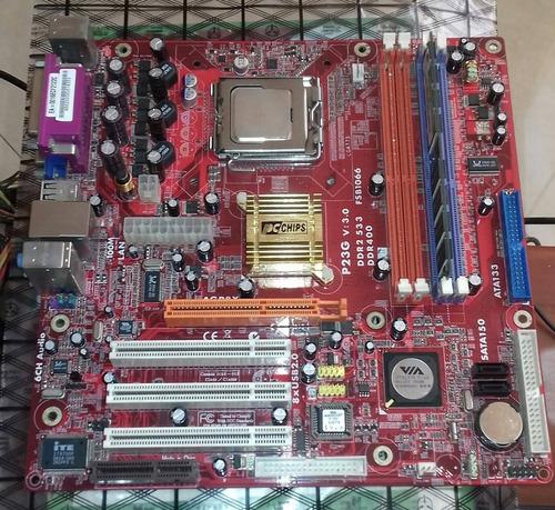 tarjeta madre p23g pc chips con fancooler y procesador