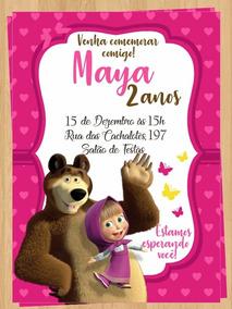 Tarjeta Masha Y El Oso Invitación De Cumpleaños Digital