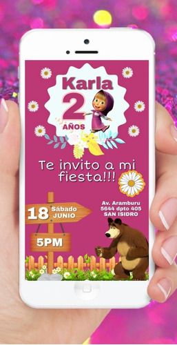 tarjeta masha y el oso invitación de cumpleaños tortas