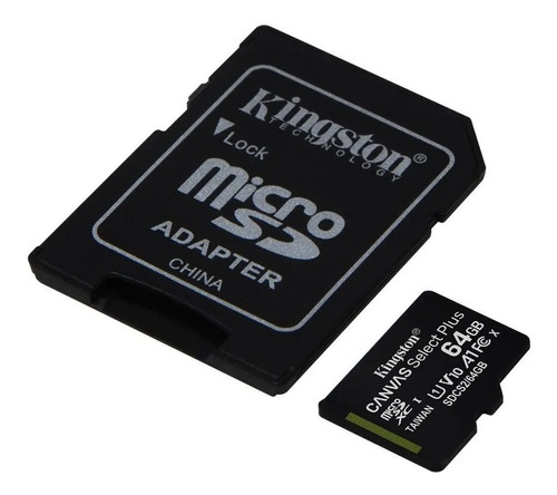 tarjeta memoria kingston canvas plus microsd 64gb 100mb/s a1