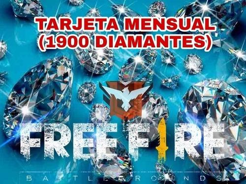 tarjeta mensual free fire (1900 diamantes)