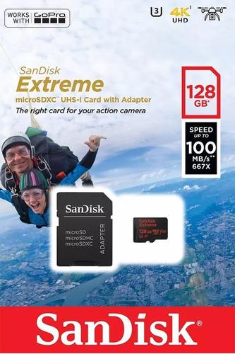 tarjeta micro sd 128gb extreme sandisk® 100mb/s 4k - u3- a1