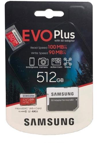 tarjeta micro sd samsung evo 512gb 90m/s u3 4k original