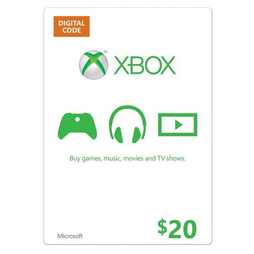 tarjeta microsoft xbox $20 gift card, para xbox one y 360