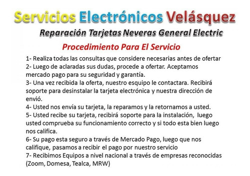 tarjeta nevera general electric y te la reparamos en 1 dia