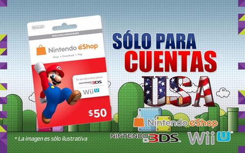tarjeta nintendo eshop u$50 usa /entrega inmediata gamer24hs