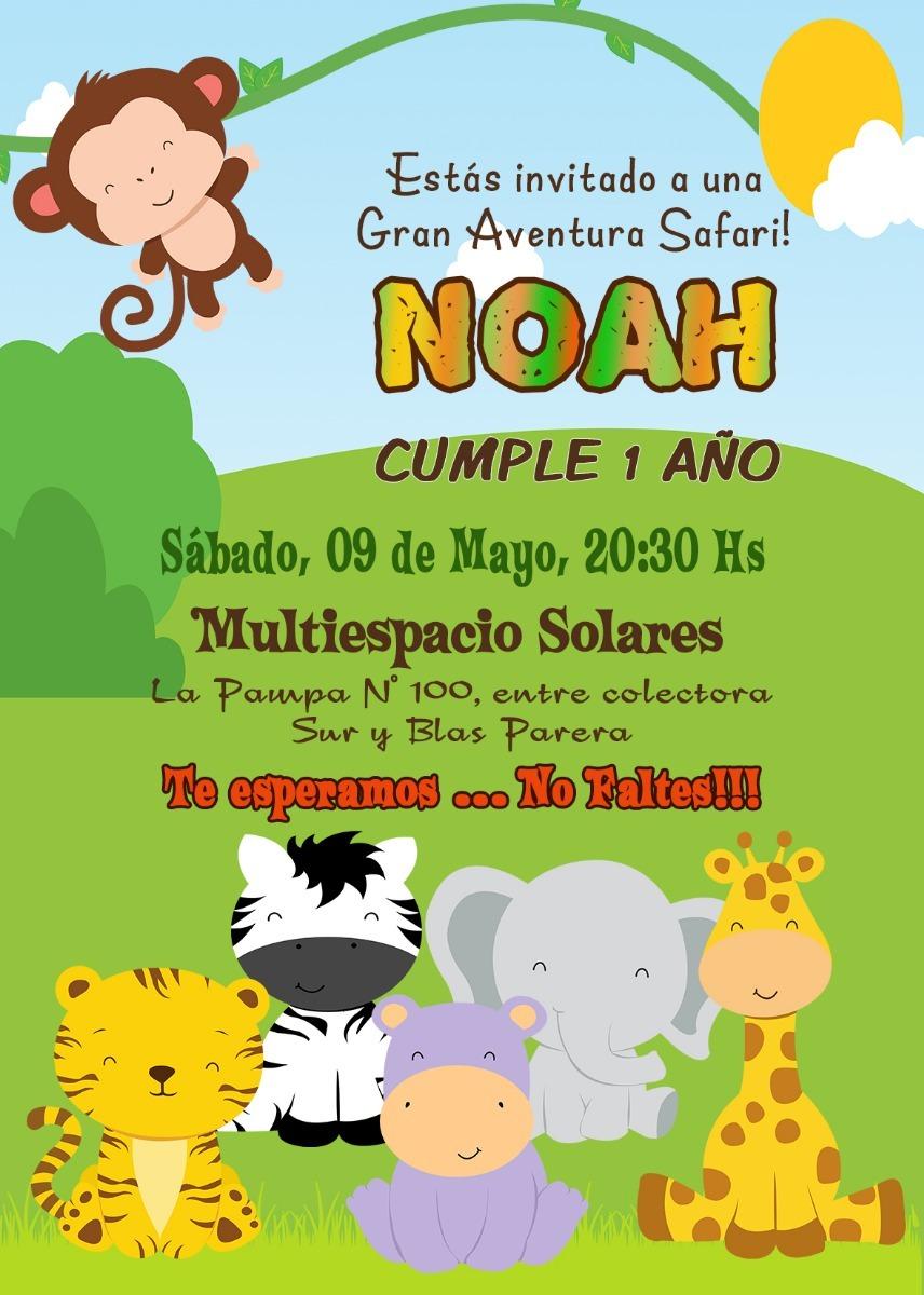 Tarjeta O Invitación Digital Imprimible Cumple Safari