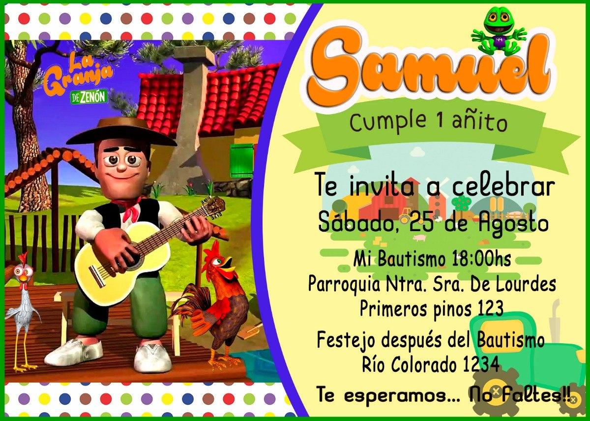 Tarjeta O Invitación Digital, Imprimible La Granja De Zenon Bs 70,00 en Mercado Libre