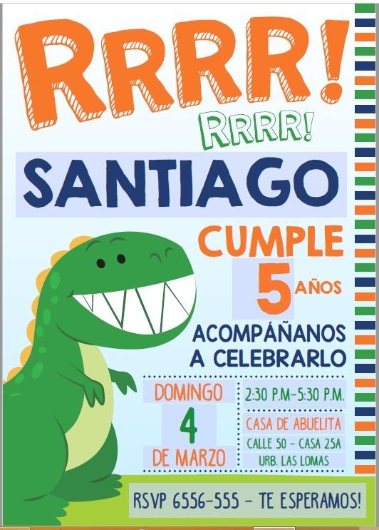Tarjeta O Invitación Para Imprimir Editable De Dinosaurios