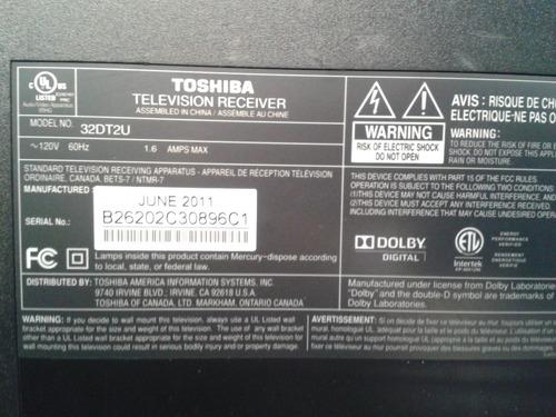 tarjeta para tv toshiba lcd mod:32dt2u