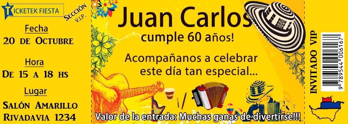Tarjeta Parranda Vallenata Cumpleaños Ticket Para Imprimir
