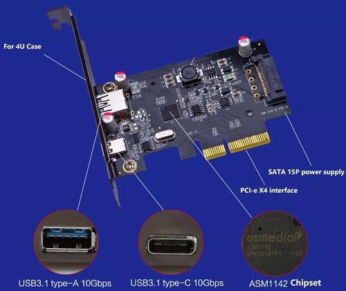 tarjeta pci-e express x1 1 puerto usb-c + usb 3.0 low profil