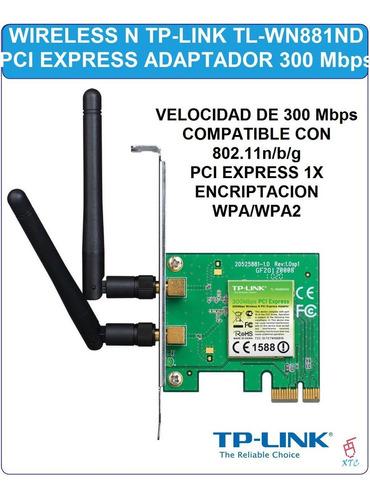 tarjeta pci expres adaptador tp-link tl-wn881nd wireless xtc