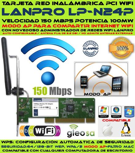 tarjeta pci inalambrica wifi lanpro lp n24p 150 mbps y 100mw