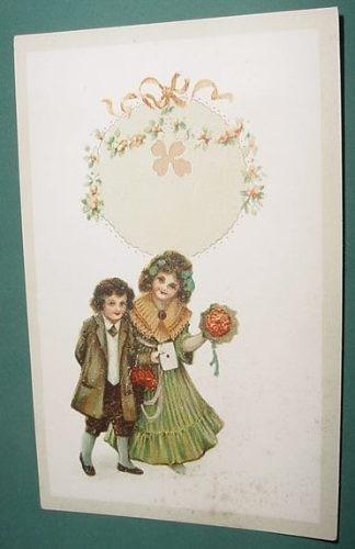 tarjeta postal antigua niños flores guirnaldas trebol mod. 1