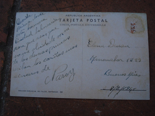 tarjeta postal mar del plata grupo de chalets - fechada 1941