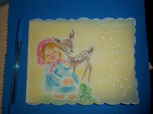 tarjeta postal navideña antigua hecha a mano .-