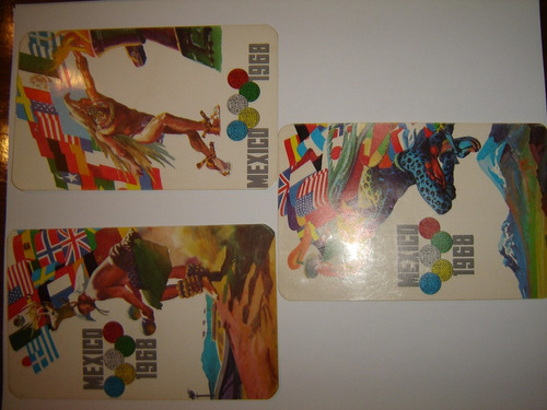 tarjeta postal olimpiadas mexico 1968 serie 3 pzas