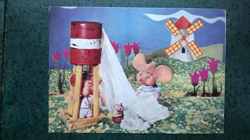 tarjeta postal serie topo gigio  gigio gallina carolina