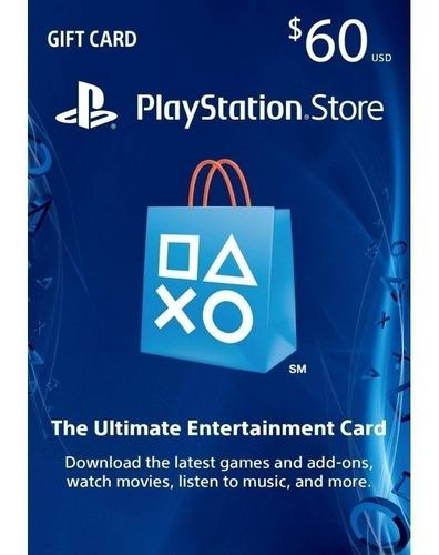tarjeta prepago play station store network usa psn $60 gift