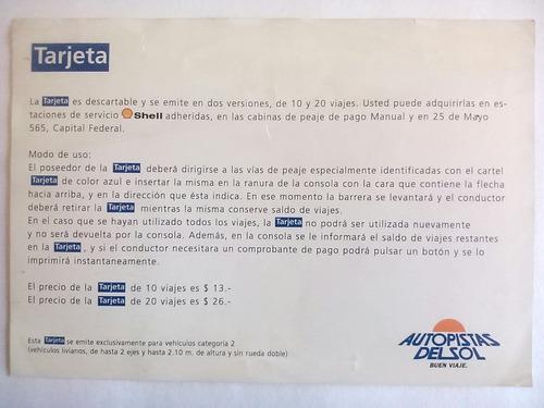 tarjeta promoción autopista panamericana. 1996