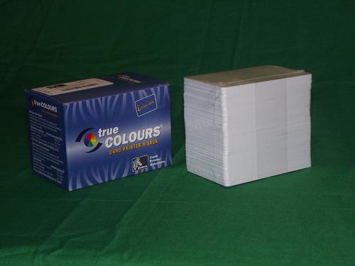 tarjeta pvc blanca credenciales 10 piezas zebra evolis fargo