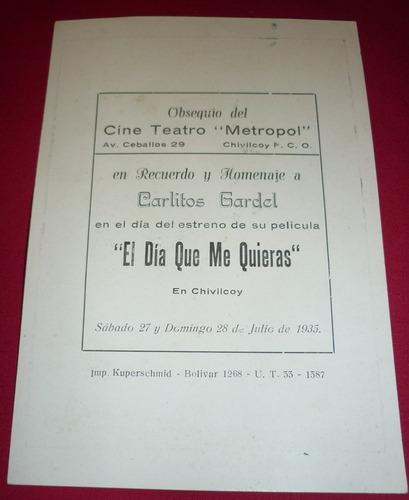 tarjeta recuerdo estreno el dia que me quieras gardel 1935