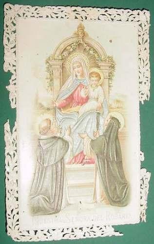 tarjeta religion litografia relieve nuestra señora rosario