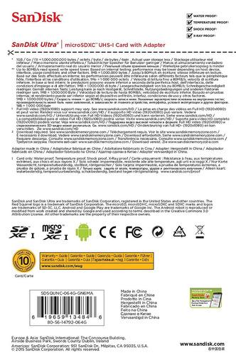 tarjeta sandisk ultra microsdxc uhs-i con adaptador