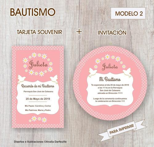 Bautismo Tarjeta Souvenir Invitación Nena Para Imprimir