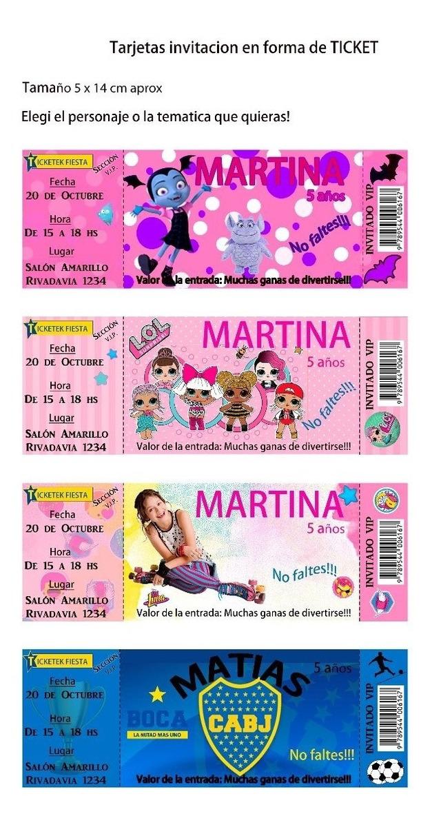 Tarjeta Soy Luna Ticket Invitacion Para Imprimir