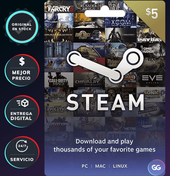 Tarjeta Steam Gift Card 5 Dolares Usd Codigo Digital 21 688 En