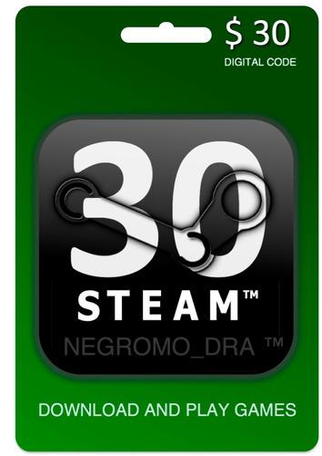 tarjeta steam wallet de 30 dólares p/juegos originales de pc