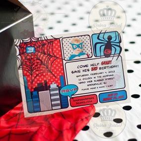 Tarjeta Super Heroes Invitacion Cumpleaños Hombre Araña