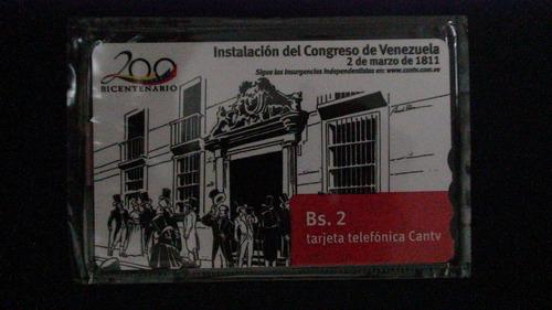tarjeta telefónica cantv - serie bicentenaria 9/9 (vk110609)
