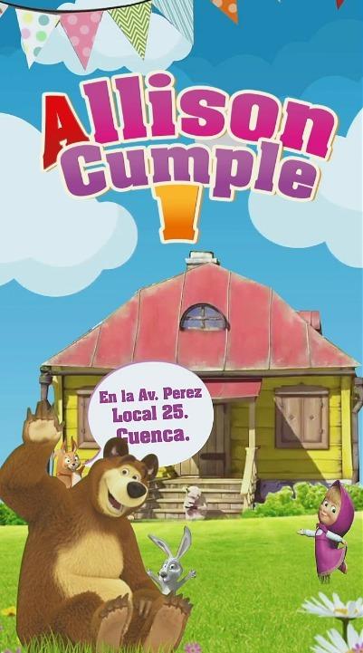 Tarjeta Video Invitacion Cumpleaños Masha Y El Oso