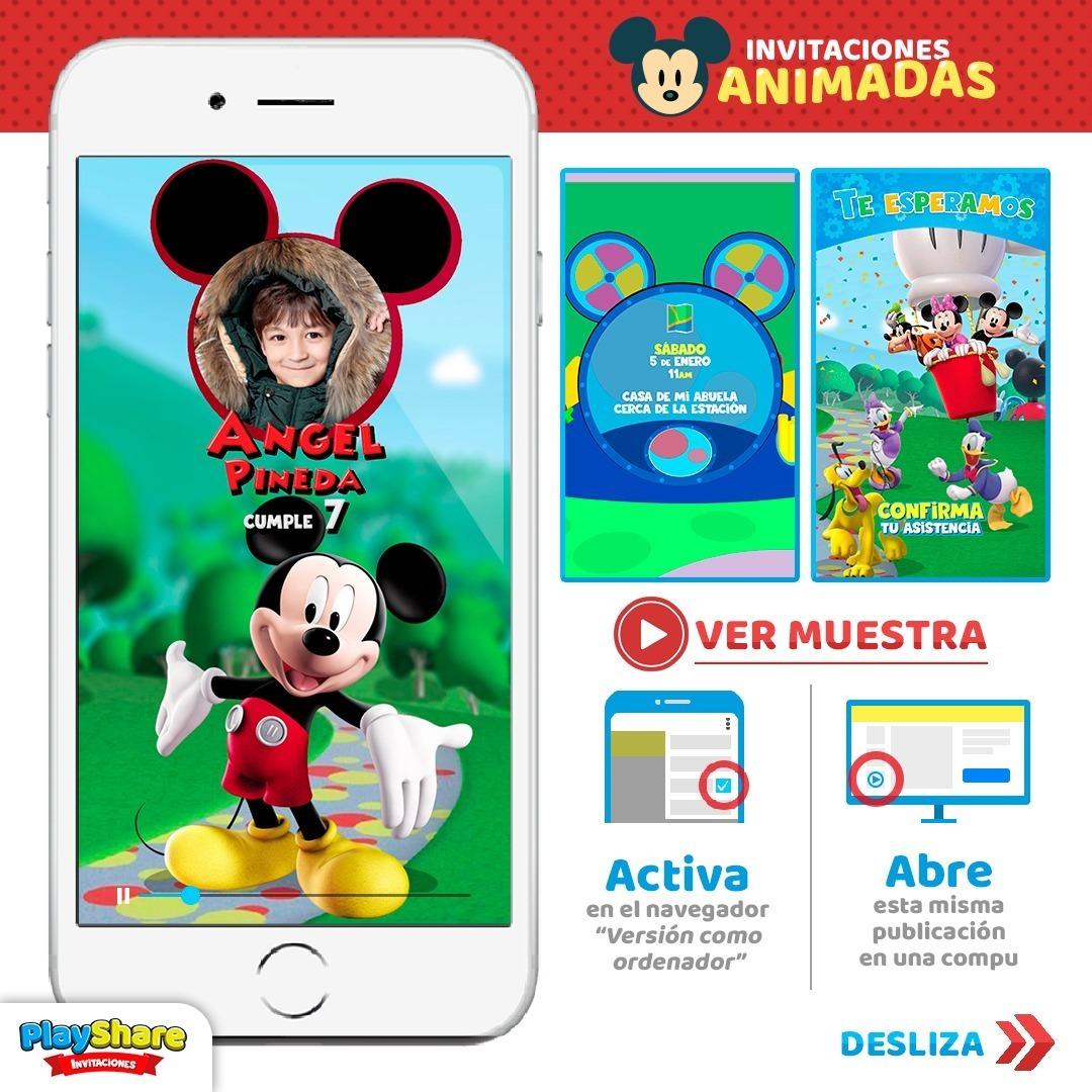Tarjeta Video Invitación Digital Cumpleaños Mickey Mouse