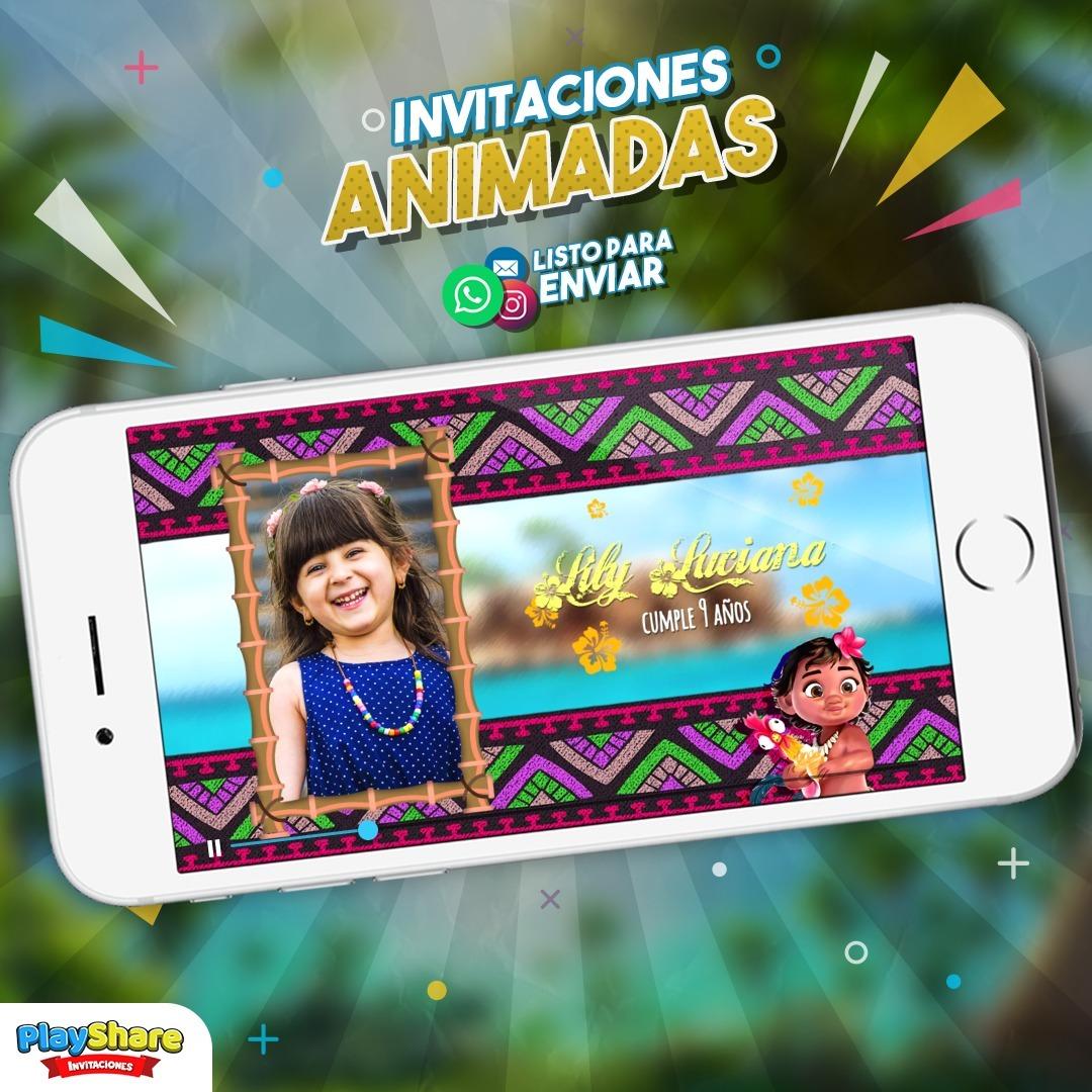 Tarjeta Video Invitación Digital Cumpleaños Moana Bebé